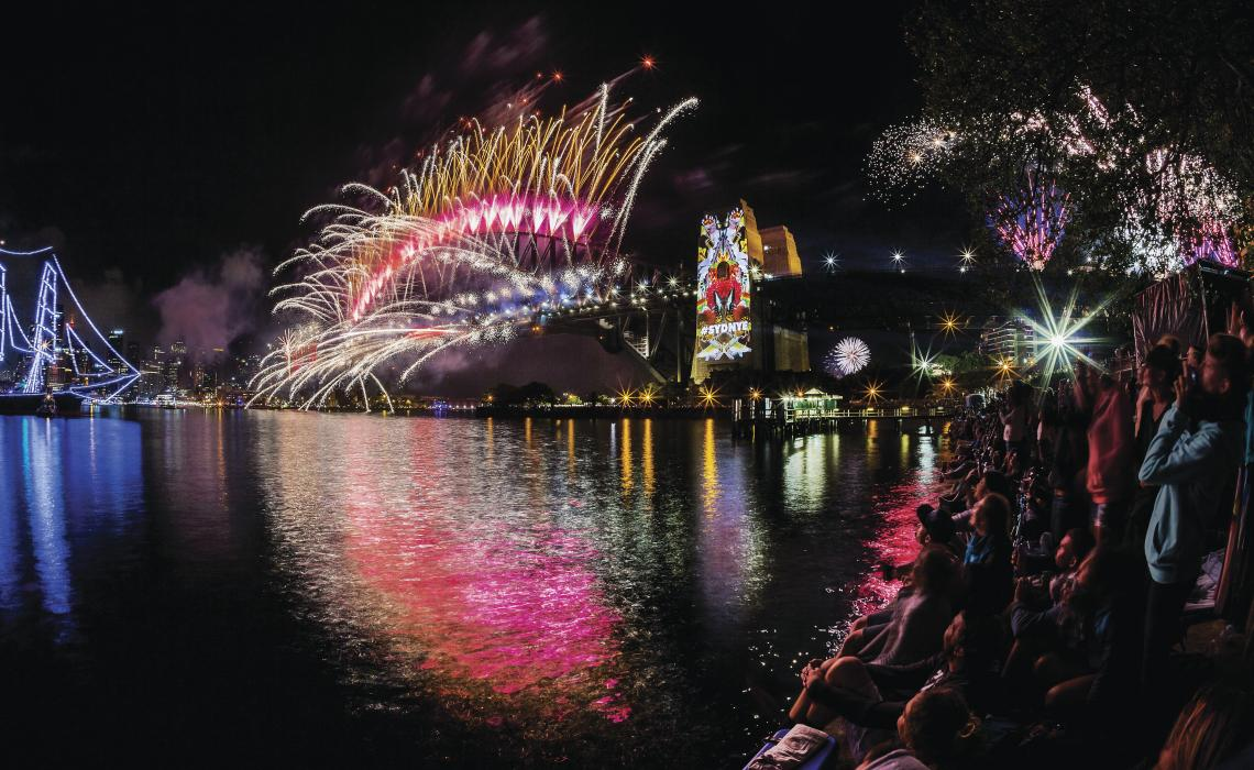 View of Sydney Harbour Bridge on New Year's Eve from Circular Quay